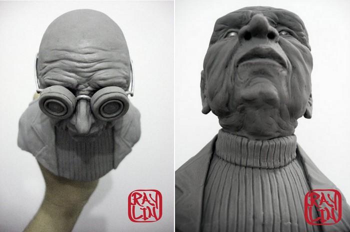 Персонажи из Футурамы в виде реалистичных бюстов. Скульптуры Ray Lin