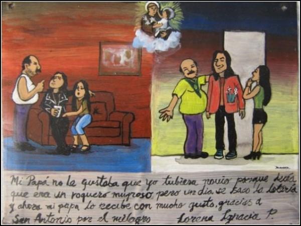 Девушка благодарит своего святого за то, что ее парень-рокер, которого не любили ее родители, выиграл в лотерею, и стал желанным гостем в семье