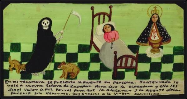 Благодарность Святой Деве за то, что собаки отогнали смерть с косой от больной дамы, за которой она пришла, и не дали ее забрать