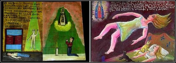 Благодарность богам за то, что защитил от марсиан и не дал им совершить похищение (слева), и что кошки вовремя разбудили женщину, чья душа вознеслась над телом и намеревалась навсегда ее покинуть, пока та спит (справа)