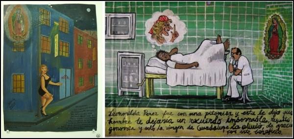 Проститутки благодарят заступников за то, что он оградил от заболеваний и позволил и дальше зарабатывать на жизнь и операцию мужу (слева), и что позволил быстро вылечиться от гонореи (справа)