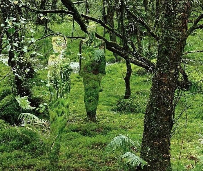 Стеклянные скульптуры-призраки в лесах Шотландии