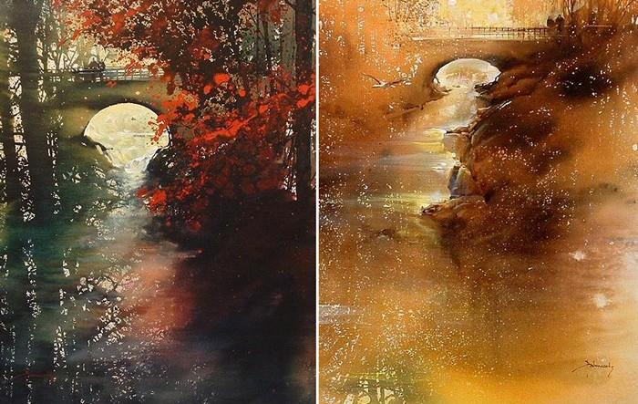 Волшебная акварельная осень художника Роланда Палмаэртса (Roland Palmaerts)