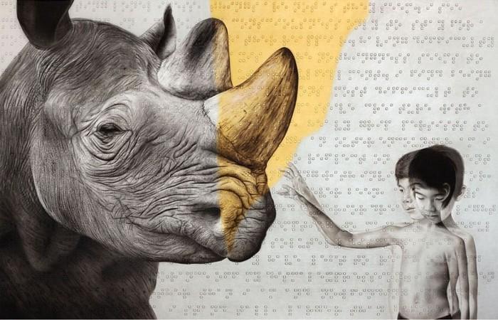 Сюрреализм и шрифт Брайля в необычных картинах Роя Нахума