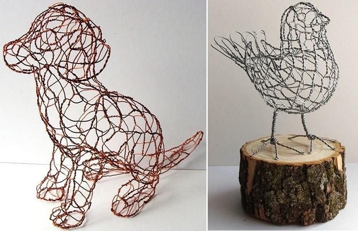Проволочные скульптуры в виде зверей и птиц