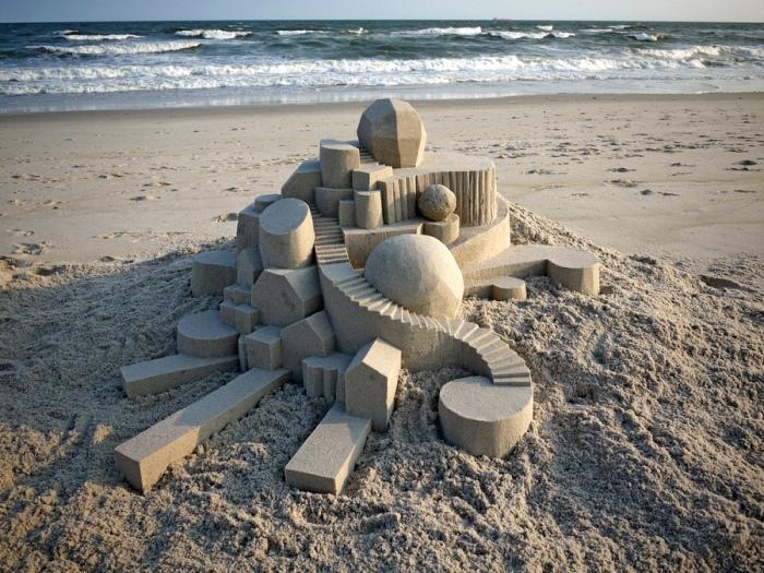 Геометрические песочные замки художника Кальвина Зайберта (Calvin Seibert)