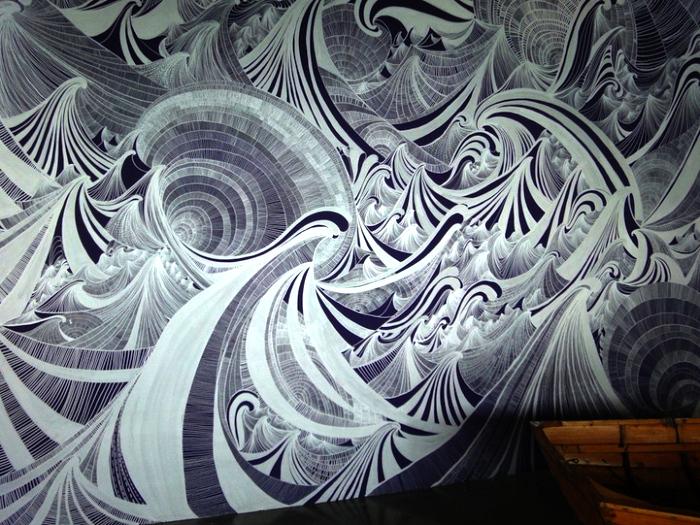 Столкновение волн. Коллективное граффити Encounter of Waters, нарисованное маркером на стене Современное искусство Арт