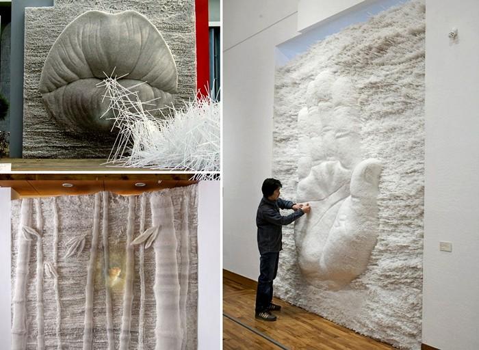 Масштабные скульптуры-инсталляции из пластиковых трубочек для напитков