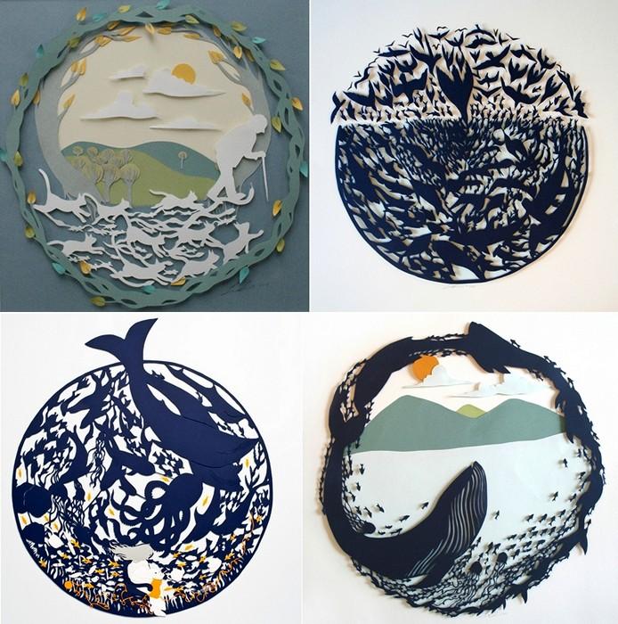 Коллажи из бумаги, paper art от Сары Деннис (Sarah Dennis)