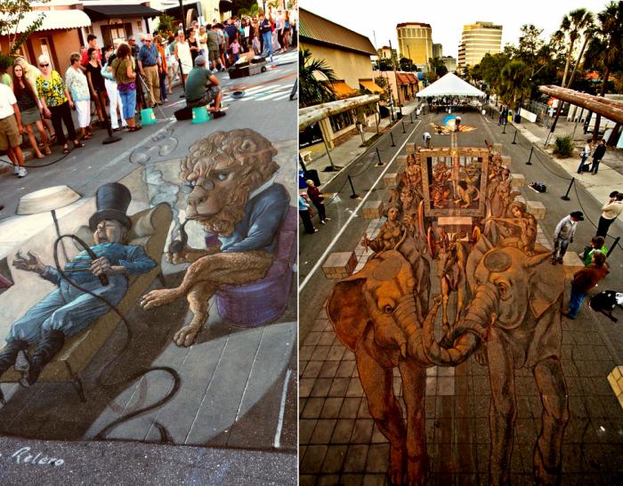 Картины мелом. Ежегодный фестиваль стрит-арта Sarasota Chalk Festival