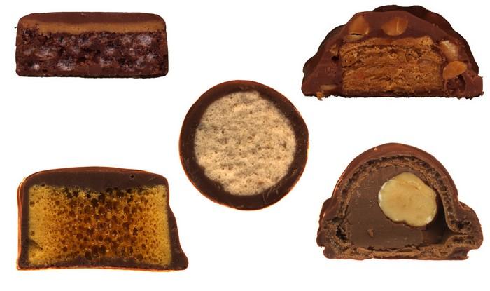 Thingamajig, Crunchie (UK), круглый батончик Whoppers, Reese's Crispy Crunchy и Duplo (Italy) из Scandybars