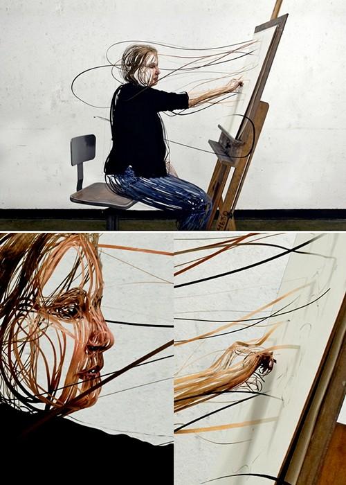 Scribbled Line People, из фотографии в скульптуру с помощью трехмерного моделирования
