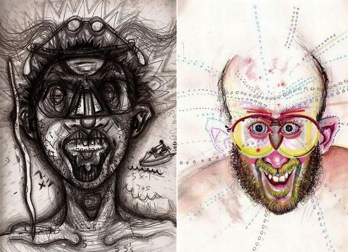 Drugs, серия автопортретов под действием наркотических препаратов. (Слева - кокаин, справа - псилоцибиновые грибы)