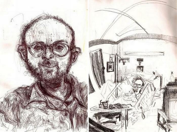 Автопортреты Брайана Льюиса Сондерса под действием разных доз валиума