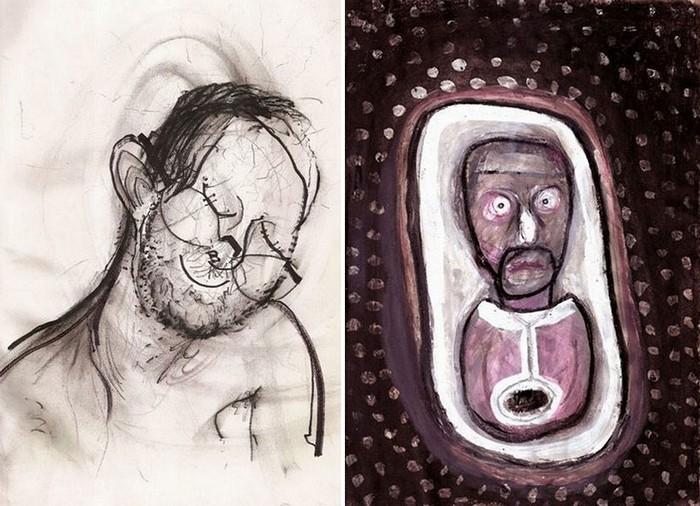 Автопортреты под действием закиси азота (слева) и того же, плюс валиум (справа)