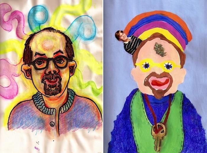 Художник под анашой (слева) и марихуаной (справа)