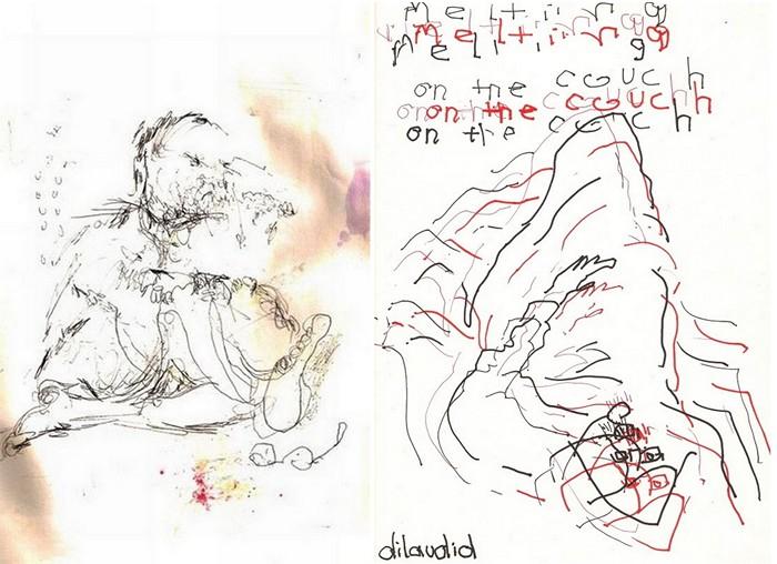 Автопортреты под действием *ангельской пыли* (слева) и дилаудида (справа)