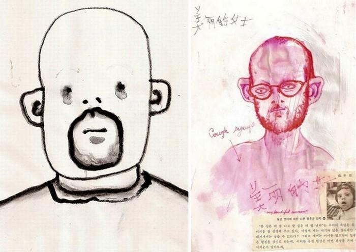Автопортреты под действием настоящего абсента (слева) и после двух бутылок микстуры от кашля (справа)