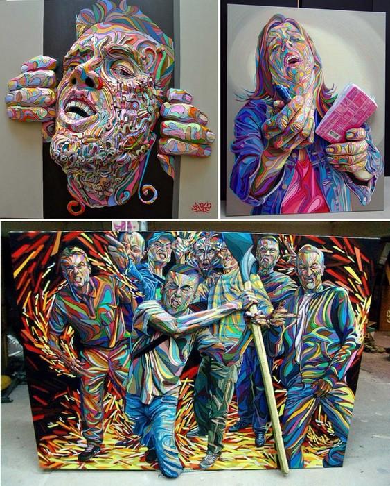 Необычное mixed media в трехмерных картинах художника Shaka