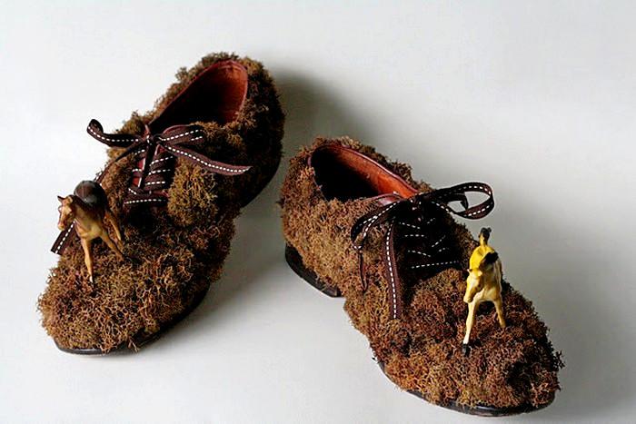 Травяные арт-туфли для экспозиции Shoe fly Shoe