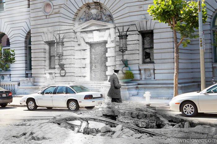 Серия коллажей 1906 + today. Сан-Франциско в наши дни и век назад