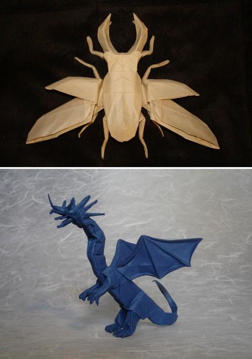 Бумажные драконы, роботы и насекомые. Оригами от Shuki Kato