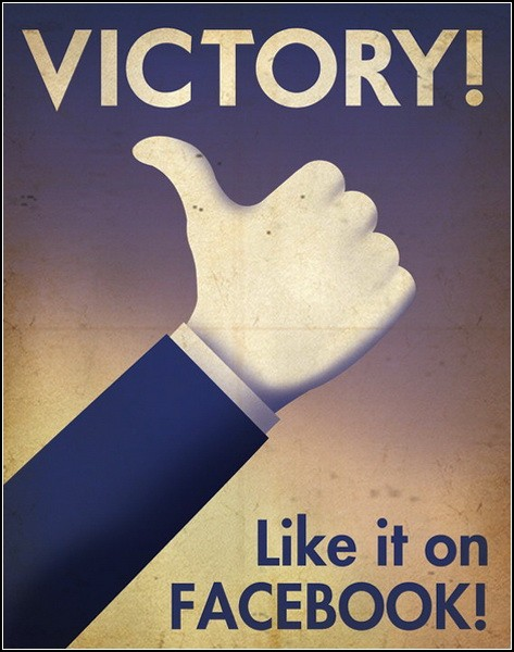 Постер, посвященный кнопке Like от Facebook. Творчество от Justonescarf