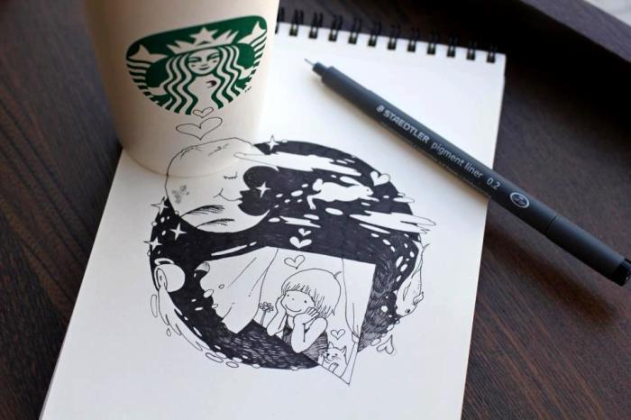 Starbucks Drawings. Рисунки с кофейным настроением от Томоко Синтани (Tomoko Shintani)