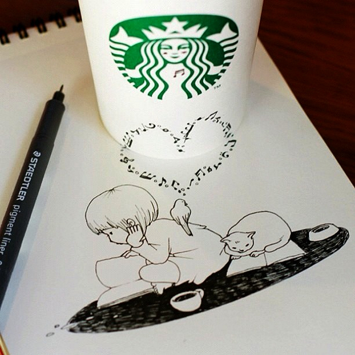 Starbucks Drawings. ������� � �������� ����������� �� Tomoko Shintani