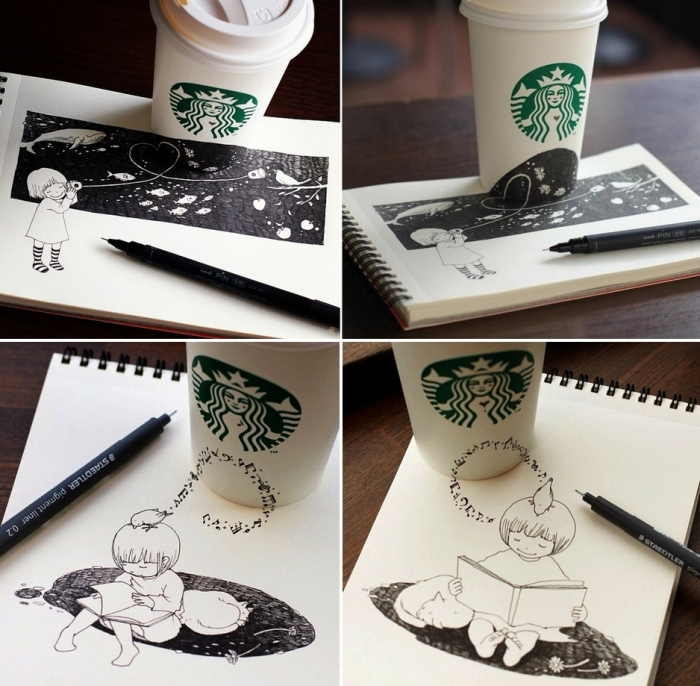 Starbucks Drawings. Рисунки с кофейным настроением от Tomoko Shintani