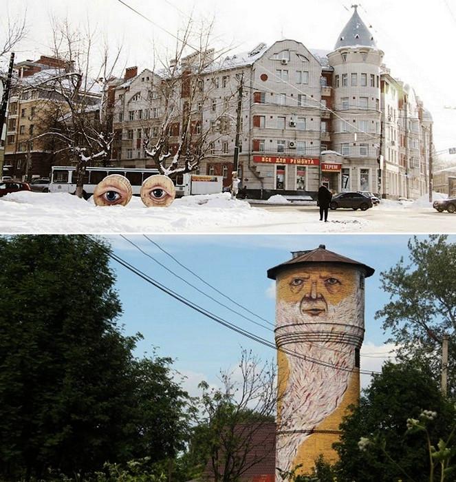 Big Brother (внизу) второй победный арт-проект, находится в Нижнем Новгороде