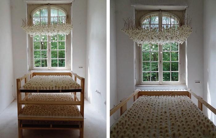 Одуванчики, подвешенные к потолку. Арт-проект Suspended Dandelions