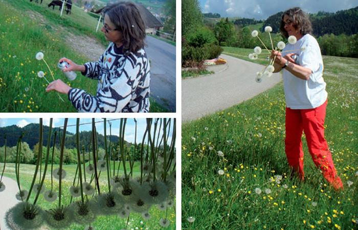 Suspended Dandelions. Инсталляция из 2000 подвешенных к потолку одуванчиков