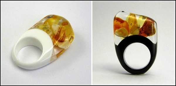 Few forests, fields and sea in designer rings by Sylvia Kalush
