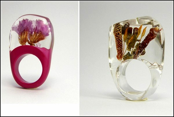 Rings of Sylwia Calus Design, decorated with particles of nature