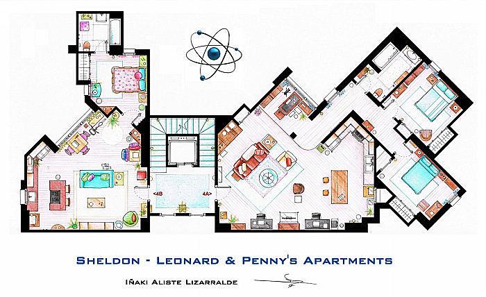 Квартиры Пенни и Шелдона с Леонардом. Сериал *Теория большого взрыва*