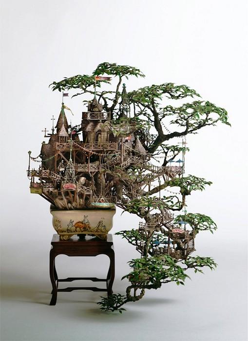 Японский бонсай или сказочный домик эльфов, скульптуры Takanori Aiba