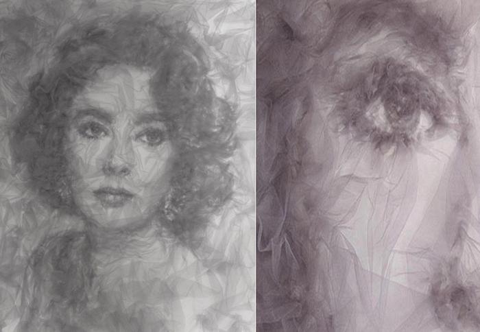 Элизабет Тейлор, портрет, нарисованный тюлем