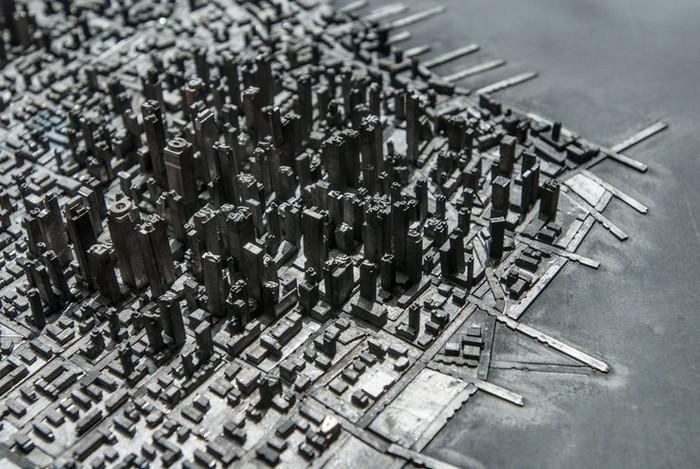 Городской пейзаж Type City из элементов печатной машинки