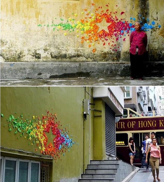 Граффити из оригами. Необычный стрит-арт от Mademoiselle Maurice