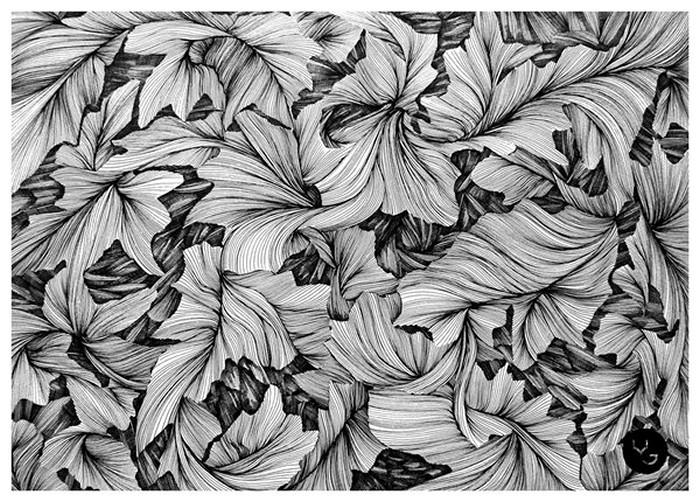 Черно-белые иллюстрации Василия Годжа (Vasilj Godzh) нарисованные линиями и черточками