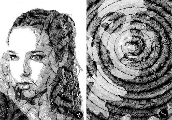 чёрнобелые рисунки художников
