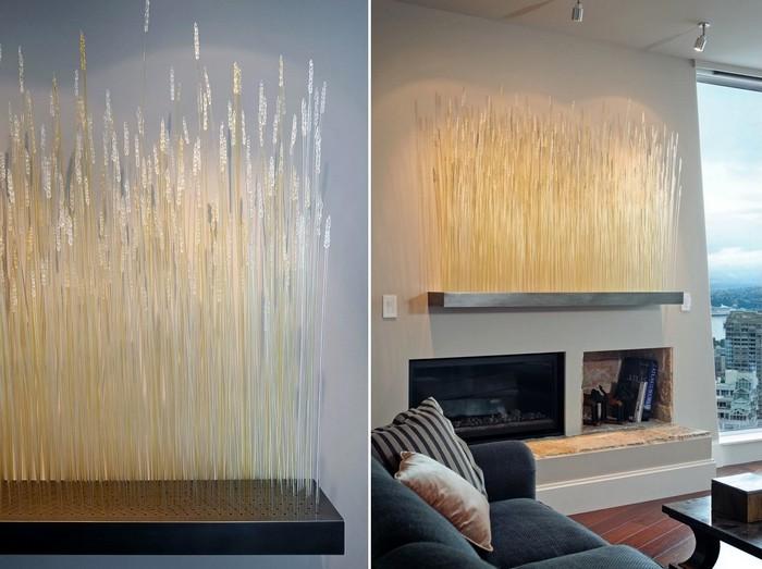 Инсталляция Wheat Glass. Домашнее поле стеклянной пшеницы