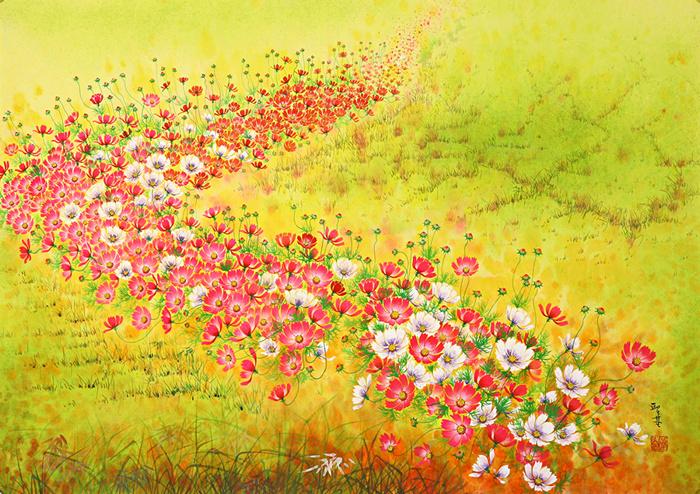 Космея на картинах корейского художника Won Seong Gi