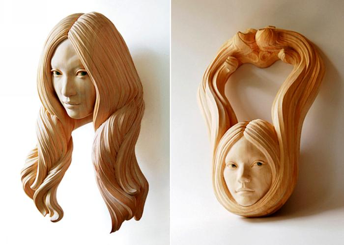 Деревянные прически деревянных женщин. Скульптуры Ясухиро Сакураи (Yasuhiro Sakurai)