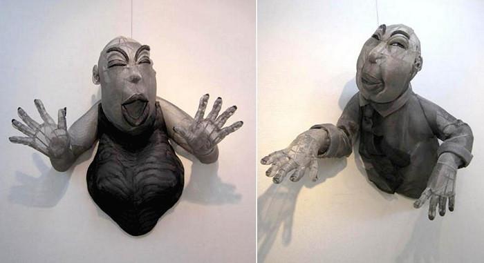 Скульптуры Mesh People из алюминиевой сетки. Карикатуры Юко Хишиямы (Yuko Hishiyama)