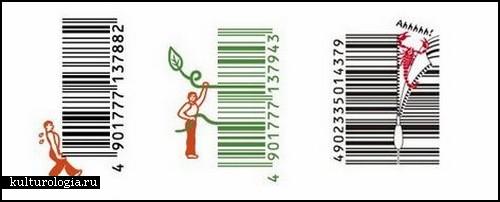 Креативные штрих-коды на японских товарах