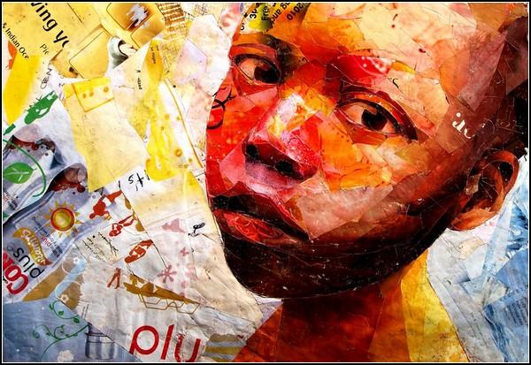 Эмоциональные картины-коллажи Бенона Лутааи (Benon Lutaaya)