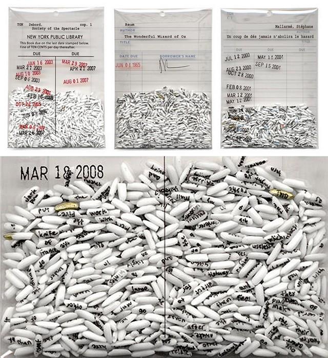 Library. Отрывки из любимых книг художника Trong G. Nguyen, написанные на рисовых зернышках