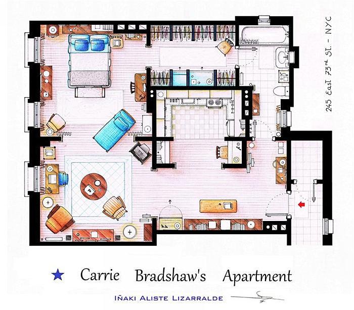 Апартаменты Кэрри Брэдшоу.